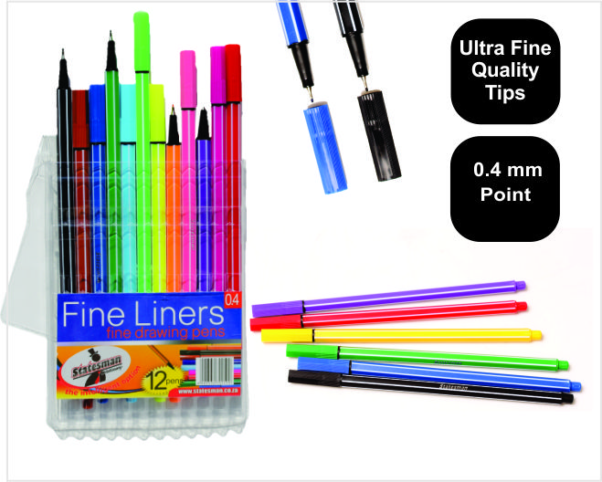 Pouch of 12 Statesman Supreme Quality Fineliners Special Offer 1