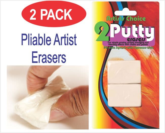 Putty Eraser Artists and Drawing (pliable) 2 Pack 1