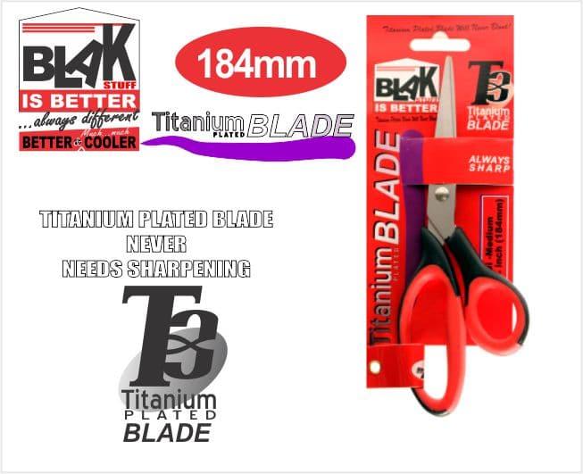 Medium Blak Titanium Plated Scissors 7 1/4 Inch 184mm 1