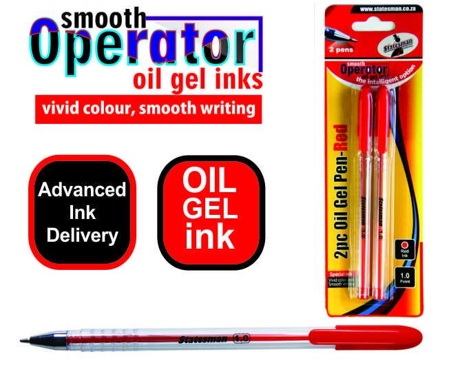 Oil Gel Pens 2 Pack Red 1