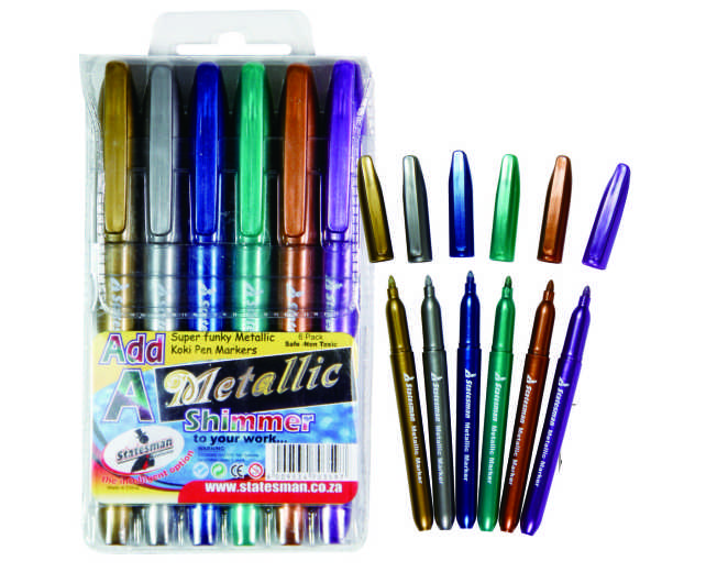Metallic Markers 6 Pack Assorted Colours 1
