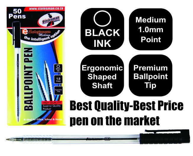 50 Black Entrepreneur Crystal Ballpoint Medium Pens in a Pack 1