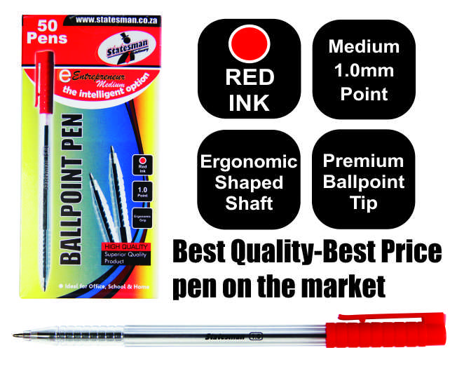 50 Red Entrepreneur Crystal Ballpoint Medium Pens in a Box 1