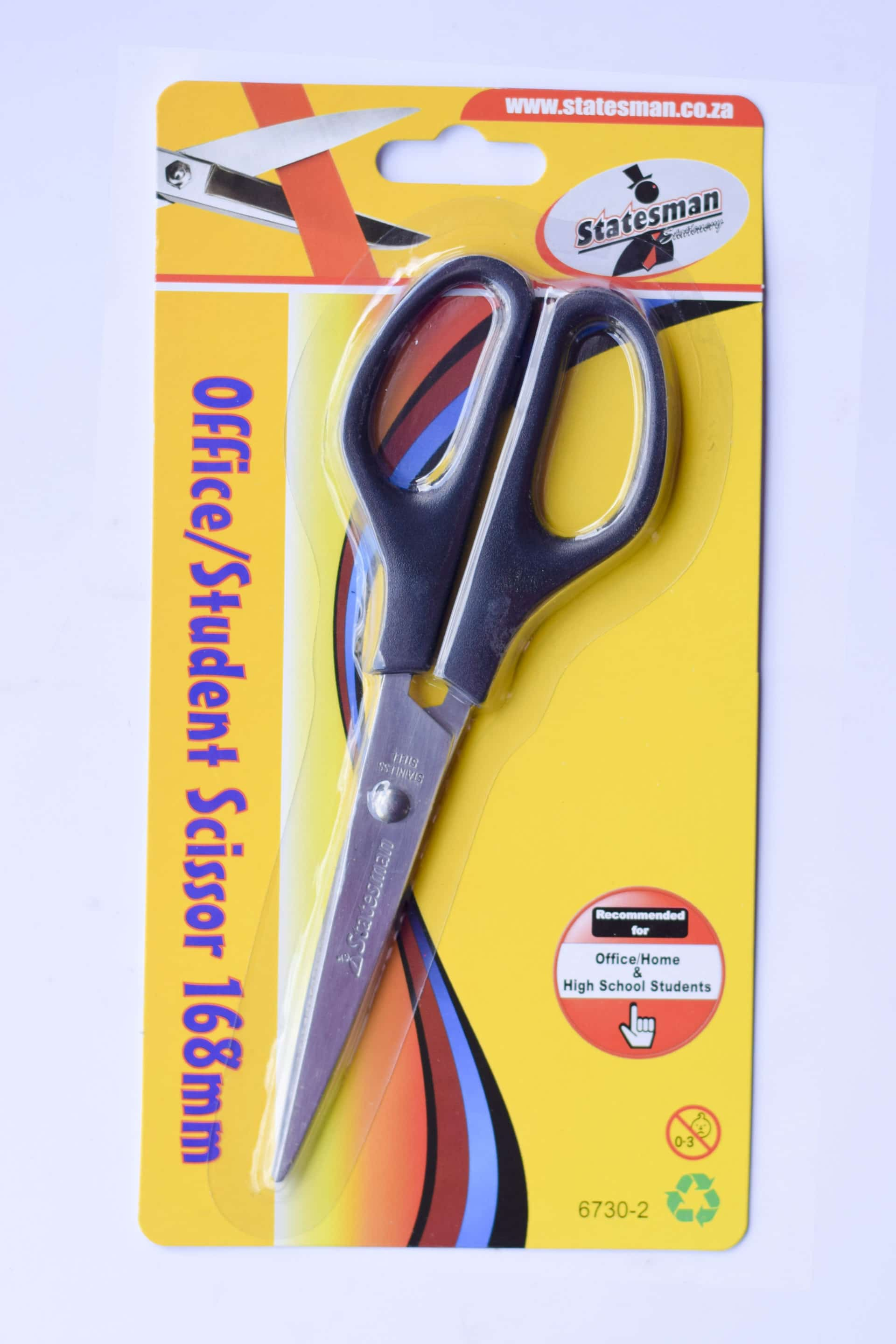Black Handle Office and Student Scissor 168mm High Quality 1