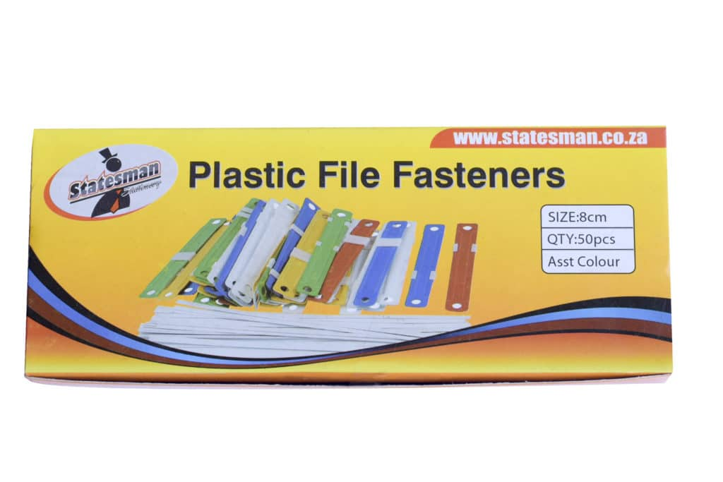 File Fastner  50pc 8cm Assorted Clrs Plastic 1