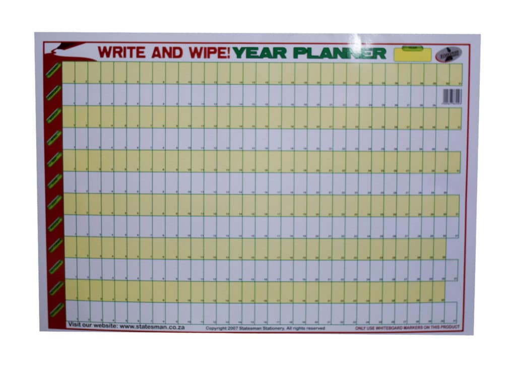 Poster Year Planner Write and Wipe 1