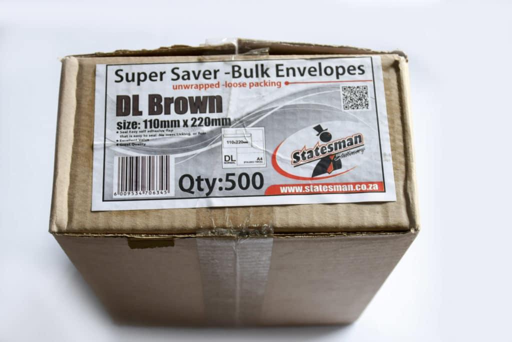 Envelopes Statesman 110x220 Dl Brown Box of 500 1