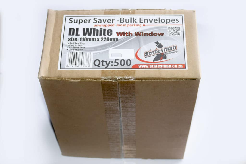 Envelopes Statesman Dl White Window Box of 500 1