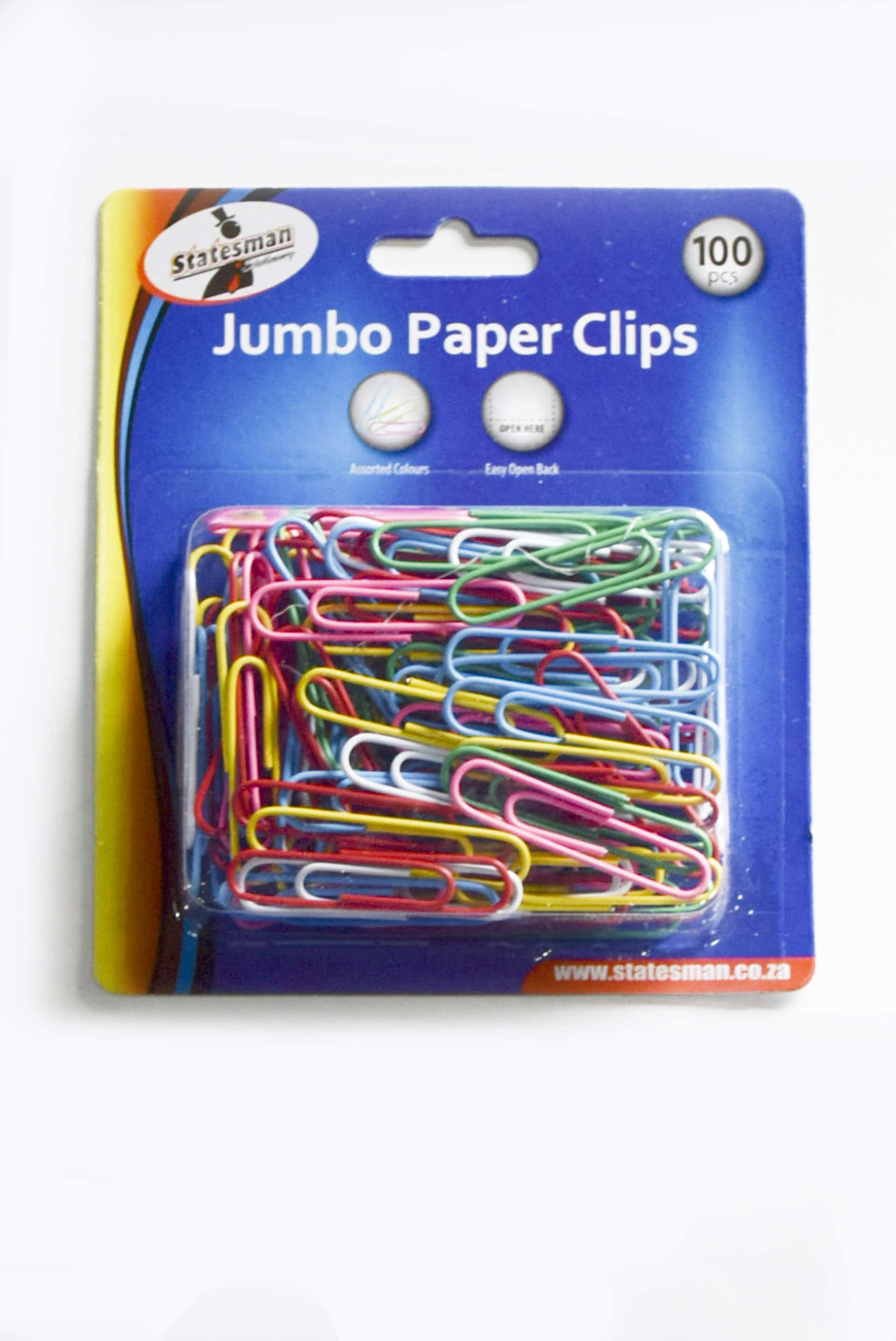 Jumbo Paper Clips 100's Plastic Coated 1