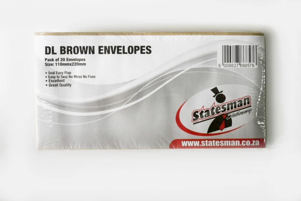 Easy Stick Dl Brown Envelopes 110x220mm 20 Pack 1